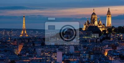 Фотообои Эйфелева башня и др Сакре-Кер Au Soleil couché де