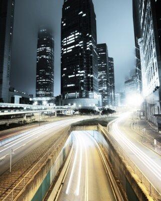 Фотообои трафик в Гонконге в ночное время