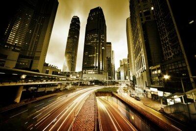 Фотообои трафик в Гонконге во время заката