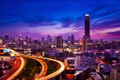 Фотообои Трафик в современном городе в ночное время, Бангкок Таиланд