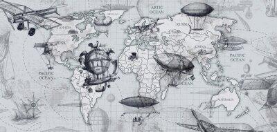 Фотообои travel across the globe, balloons, aircraft, cars, ships photo wallpapers on the wall