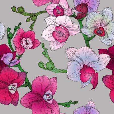 Фотообои Тропик цветочный бесшовные модели с ручной рисунок орхидеи