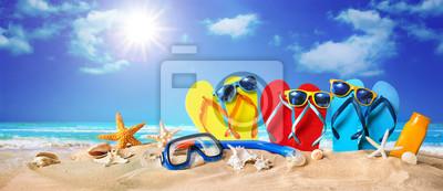 Фотообои Tropical beach with sunbathing accessories, summer holiday background