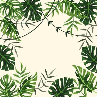 Фотообои тропический каркас. задний план. листва. векторные иллюстрации
