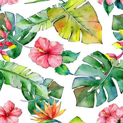 Фотообои Тропические Гавайи оставляют узор в акварельном стиле. Aquarelle дикий цветок для фона, текстуры, обертки шаблон, рамки или границы.