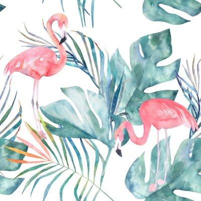Фотообои Тропический бесшовные шаблон с фламинго и листьев. Акварель летняя печать. Экзотическая рисованная иллюстрация