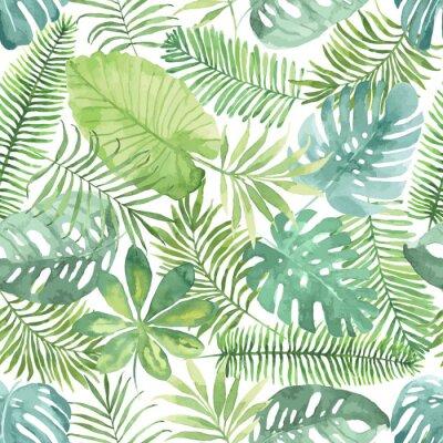 Фотообои Тропический бесшовные модели с листьями. Акварельный фон с тропических листьев.