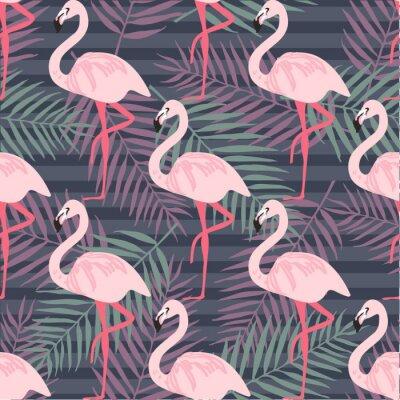 Фотообои Тропический модный бесшовные модели с розовым фламинго, ананасы, тропические листья. Пляж фона. Тропический рай