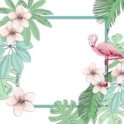 Фотообои Тропические векторные иллюстрации с фламинго и цветы.