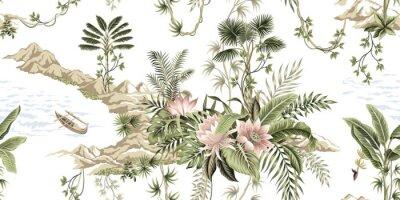 Фотообои Tropical vintage botanical island, palm tree, mountain, sea wave,boat, palm leaves, liana, lotus flower summer floral seamless pattern white background.Exotic jungle wallpaper.