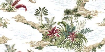 Фотообои Tropical vintage botanical island, seamless pattern white background. Exotic jungle wallpaper.