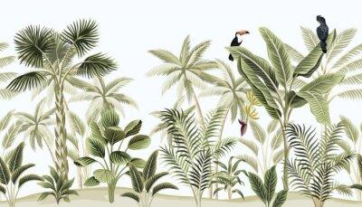 Фотообои Tropical vintage botanical landscape, palm tree, banana tree, plant, black parrot, toucan floral seamless border blue background. Exotic green jungle animal wallpaper.