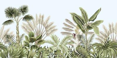 Фотообои  Tropical vintage botanical landscape, palm tree, banana tree, plant floral seamless border blue background. Exotic green jungle wallpaper.