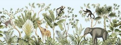 Фотообои Tropical vintage botanical landscape, palm tree, banana tree, plant, palm leaves, giraffe, monkey, elephant floral seamless border blue background. Jungle animal wallpaper.