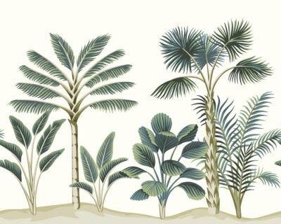 Фотообои Tropical vintage Hawaiian palm trees, banana tree, plant floral seamless pattern white background. Exotic jungle wallpaper.