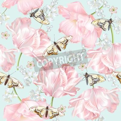 Фотообои Tulip butterfly pattern