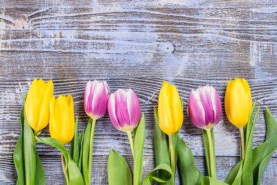 Фотообои Тюльпан цветы на деревянных Backdrop