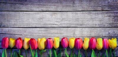 Фотообои Тюльпаны в ряд на доске - Урожай Весна фона