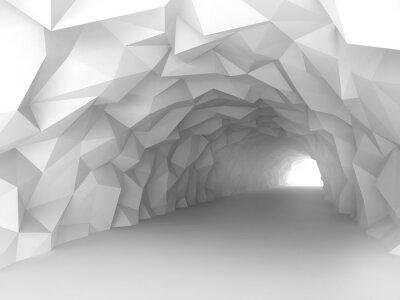 Фотообои Туннель интерьер с хаотической многоугольной рельеф стен