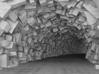 Фотообои Обращаясь конкретный интерьер туннеля, 3D визуализации