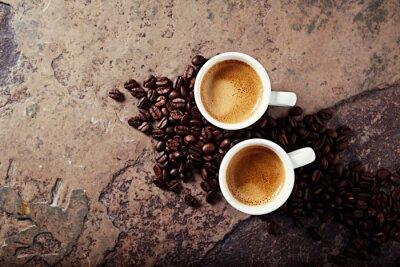 Фотообои Две чашки кофе с кофе в зернах на фоне каменных