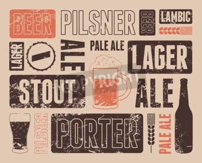 Фотообои Типографски ретро гранж пиво постер. Векторная иллюстрация.