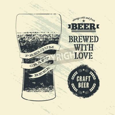 Фотообои Книгопечатание старинные гранж стиле пивной плакат с бокалом пива. Векторная иллюстрация.