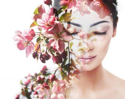 Фотообои Unity of human with nature, beauty of youth and femininity