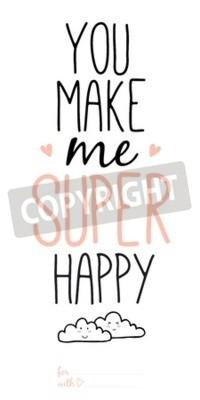 Фотообои Необычные вдохновляющие и мотивационные романтические и любовные цитаты плакаты. Стильный дизайн типографский плакат в мило стиле. Векторная иллюстрация может быть использована как открытка. Вы делает