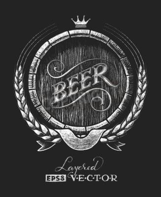 Фотообои Вектор бочка пива рисуется на доске. RGB. Один глобальный цвет. Градиенты бесплатно. Каждый элементы сгруппированы по отдельности