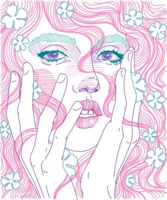 Фотообои вектор красивая девушка лицо крупным планом полное лицо с розовыми волосами и нежные цветы в прическу, держит руки за лицо