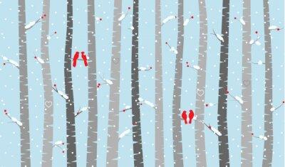 Фотообои Vector Birch or Aspen Trees with Snow and Love Birds