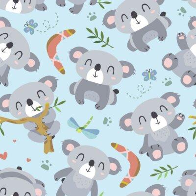 Фотообои вектор мультфильм стиль коала бесшовные модели