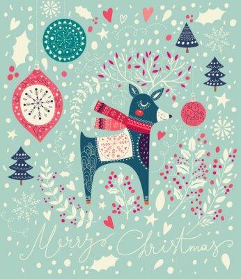 Фотообои Векторная иллюстрация Рождество с очаровательны оленей