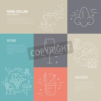 Фотообои Вектор концепция вина процесса изготовления с различными символами винодельческой промышленности, включая стекло, винограда, бутылки, corckscrew с образцом текста. Идеальный фон для вина, связанных с