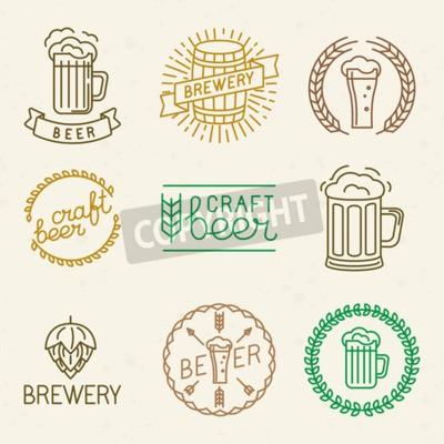 Фотообои Вектор пива ремесла и пивоваренный логотипы и знаки в модном линейном стиле - моно линии значки и эмблемы с текстом и надписями для пивных, пабов и пивоваренных компаний