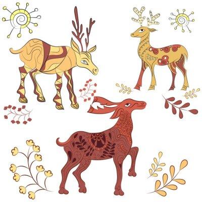 Фотообои Vector декорированные оленями с природой элементов. Ручной обращается иллюстрации. Скандинавский, индийский стиль. Орнамент элементы