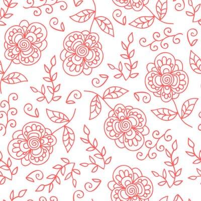 Фотообои Вектор цветок и листья бесшовные модели. Doodle милые цветы.