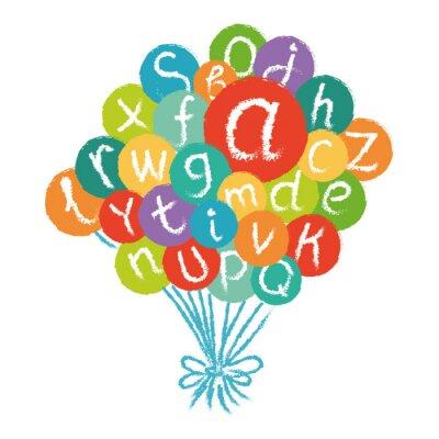 Фотообои Вектор смешной английский алфавит. Ручной обращается мел, как буквы в красочных кругах.