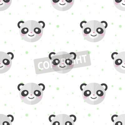 Фотообои Векторные забавные плоские мультфильм панды головы бесшовные модели. Векторные иллюстрации.