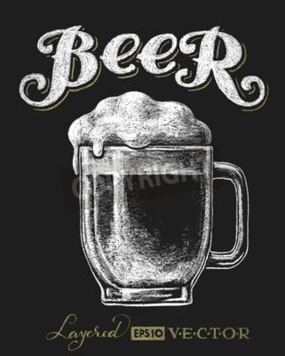 Фотообои Векторная иллюстрация мел стакан пива на доске. Eps10. Прозрачность используется. RGB. Глобальные цвета. Градиенты бесплатно. Каждый элементы сгруппированы по отдельности