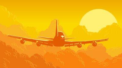 Фотообои Векторная иллюстрация неба и облаков с полетом самолета.