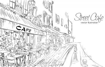 Фотообои Векторная иллюстрация уличного кафе