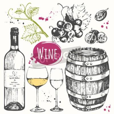 Фотообои Векторная иллюстрация с вином баррель, бокал вина, винограда, виноградного прутик. Классический алкогольный напиток.
