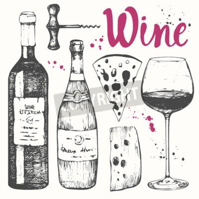 Фотообои Векторная иллюстрация с бокалом вина, штопор, бутылка, шампанское, сыр. Классический алкогольный напиток.
