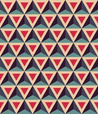 Фотообои Вектор современные бесшовные красочные картины геометрии, 3D треугольники, красный цвет синий, абстрактный геометрический фон, модные разноцветные печати, ретро текстуры, дизайн моды битник