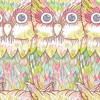 Фотообои Вектор сова бесшовные модели. Абстрактный милый фон птица.