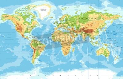 Фотообои Векторная физическая карта мира
