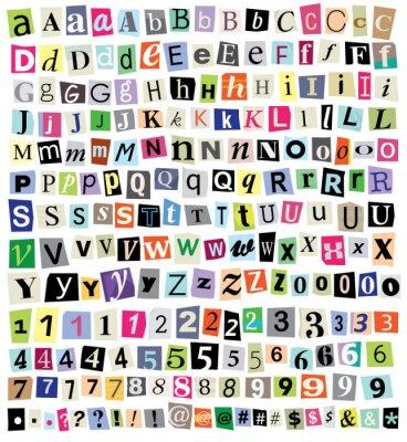 Фотообои Вектор Выкуп Примечание-бумаги вырезать буквы, цифры, символы