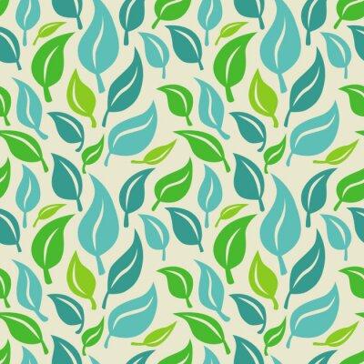 Фотообои Вектор бесшовные фон с зелеными и синих листьев